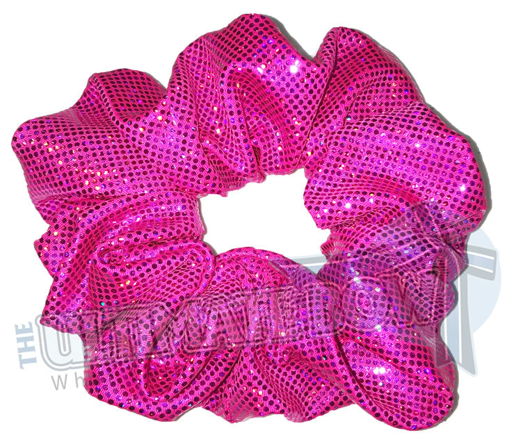 Fuchsia Scrunchies | Hot Pink Scrunchies | Breast Cancer Awareness Scrunchies |  metallic scrunchies | Prima Donna Scrunchies | Hologram Material Scrunchies | Cheer Scrunchies | Gymnastics Scrunchies