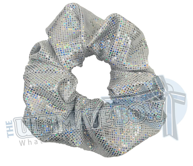 Silver Scrunchies | metallic scrunchies | Prima Donna Scrunchies | Hologram Material Scrunchies | Cheer Scrunchies | Gymnastics Scrunchies