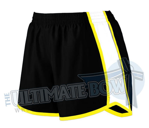 Youth-team-pulse-shorts-black-white-power-yellow-1266-Augusta-Sportswear-cheerleading-softball-soccer-volleyball-basketball-workout