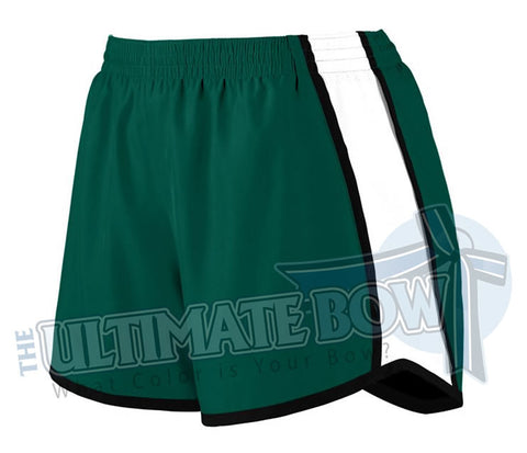 Ladies-team-pulse-shorts-dark-green-white-black-1265-Augusta-Sportswear-cheerleading-softball-soccer-volleyball-basketball-workout