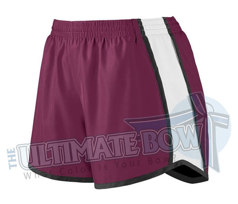 Ladies-team-pulse-shorts-maroon-white-black-1265-Augusta-Sportswear-cheerleading-softball-soccer-volleyball-basketball-workout