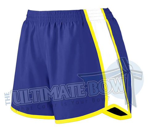Ladies-team-pulse-shorts-purple-white-power-yellow-1265-Augusta-Sportswear-cheerleading-softball-soccer-volleyball-basketball-workout