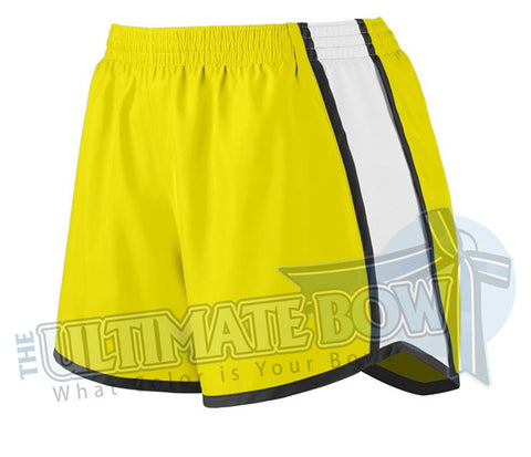 Ladies-team-pulse-shorts-power-yellow-white-black-1265-Augusta-Sportswear-cheerleading-softball-soccer-volleyball-basketball-workout