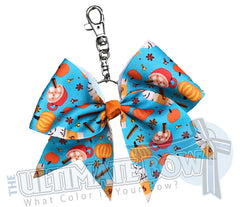 Pumpkin Spice Latte Key Chain Bow | Orange and Turquoise Cheer Bow | Fall Keychain Cheer Bow | Halloween Key Chain Bow