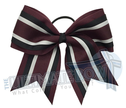 quad-hitch-maroon-black-millennium-silver-cheer-bow-softball-four-layers