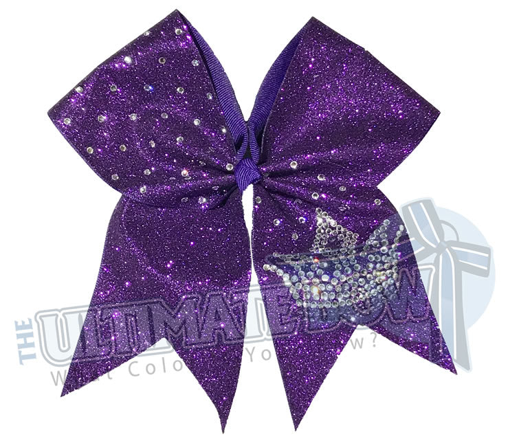 Cheer Bow - rhinestone-reign-crown-tiara-queen-Purple Glitter-crystal-cheer-bow - rhinestone Cheer Bow