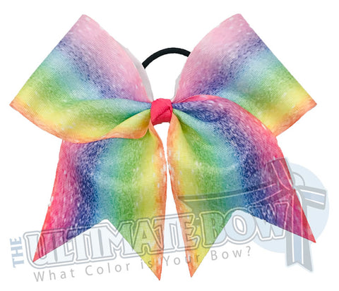 Over the Rainbow Cheer Bow | Rainbow Colored Hair Bow