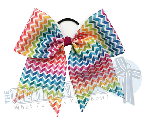 Superior Rainbow Ombre Chevron - Cheer Bow | Softball Bow | Camp Bow