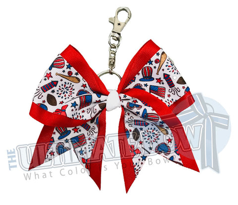 Red, White and Boom Key Chain Bow | USA Keychain Bow | Patriotic Key Chain