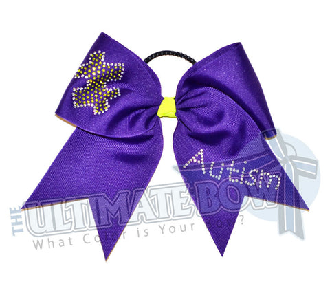 Rhinestone Autism Puzzle Cheer Bow | Autism Awareness Cheer Bow