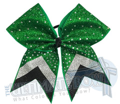 Rhinestone Full Glitter V Cheer Bow | Chevron Glitter | Emerald Black Silver Glitter Rhinestone Cheer Bow | Rhinestone Cheer Bow