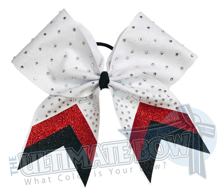 Rhinestone Full Glitter V Cheer Bow | Chevron Glitter | White Red Black Glitter Rhinestone Cheer Bow