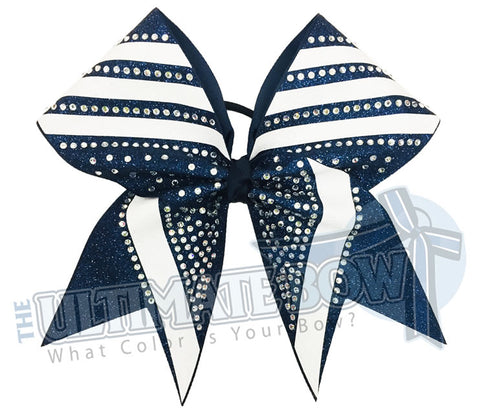 rhinestone-glitter-trending angles-navy white -crystal clear rhinestones -cheer-bow-full-glitter-cheerleader hair bow
