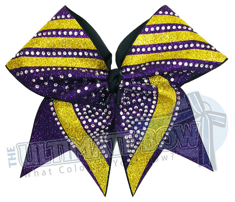 rhinestone-glitter-trending angles-Purple - Yellow gold glitter -crystal clear rhinestones -cheer-bow-full-glitter-cheerleader hair bow