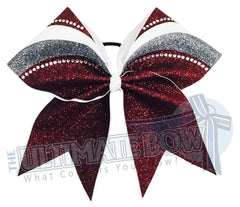 rhinestone-glitter-arch-Maroon-grey-white-cheer-bow-full-glitter