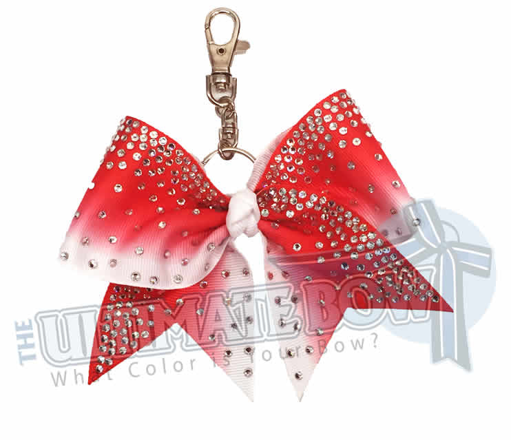 Red white ombre ribbon rhinestone keychain - cheer bow key chain bow - purse- bling