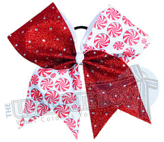 Rhinestone Peppermint Swirl Glitter Cheer Bow | Christmas Cheer Bow | Peppermint Candy Sublimated Cheer Bow | Red and White Cheer Bow