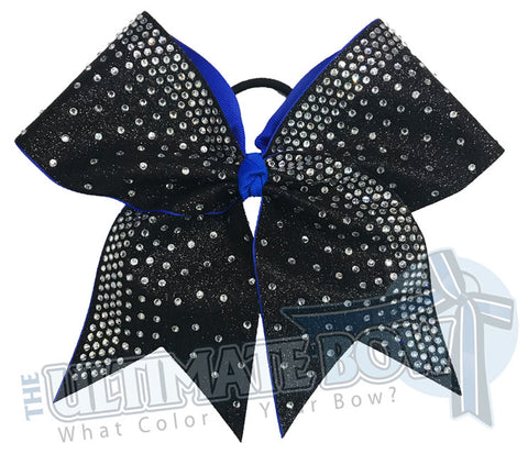 Rhinestone Rain Glitter Cheer Bow  | Electric Blue and Black Glitter Rhinestone Cheer Bow | Competition Cheer Bow | Rhinestone Ombre