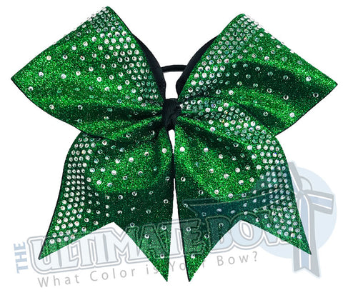 Rhinestone Rain Glitter Cheer Bow  | Emerald Green Glitter Rhinestone Cheer Bow | Competition Cheer Bow | Rhinestone Ombre