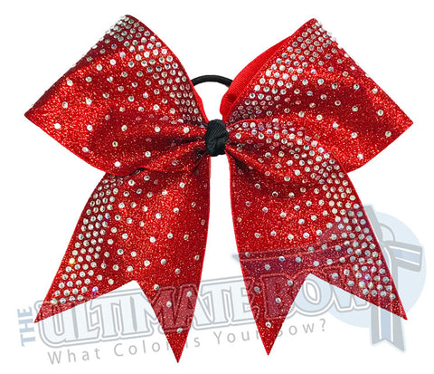 Rhinestone Rain Glitter Cheer Bow  | Red Glitter Rhinestone Cheer Bow | Competition Cheer Bow | Rhinestone Ombre