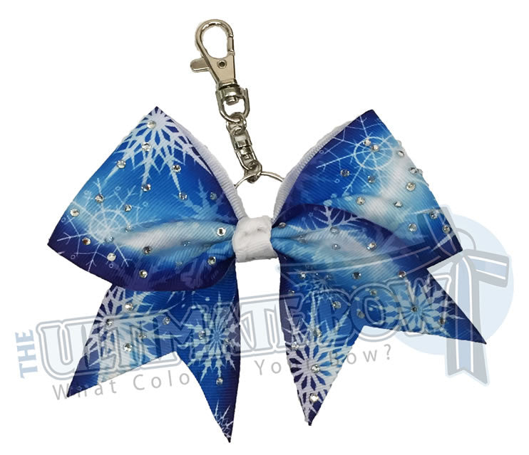 Rhinestone-snowflake-royal-blue-white-ribbon-keychain-key-chain-bow-purse-bling