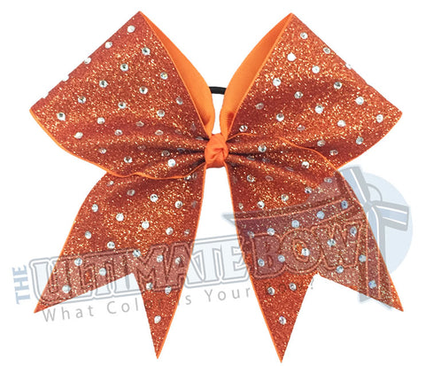rhinestone-glitter-orange crystal-clear-large-rhinestones-cheer-bow-full-glitter Texas Orange - Burnt Orange