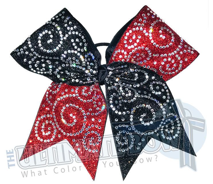 Rhinestone Super Swirls Cheer Bow | Rhinestone and Glitter | Full Glitter and Swirl Rhinestones | Red and Black Glitter Cheer Bow | Competition Cheer Bow