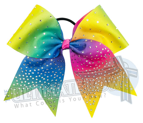 Rhinestones and Rainbows - Ombre Cheer Bow