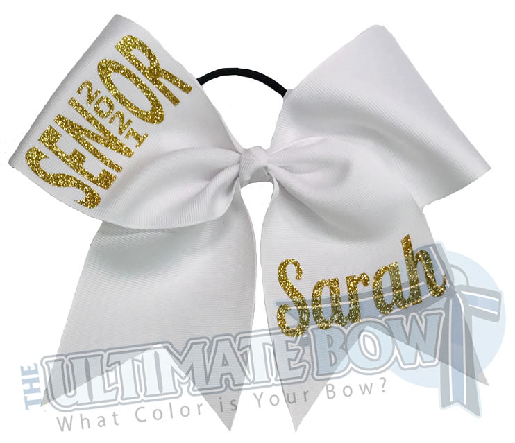 Rise Above Senior Cheer Bow | Senior Year Cheer Bow | graduation cheer bow | class of 2021 | personalized-cheer-softball-bows-high-school | White and Gold Cheer Bow
