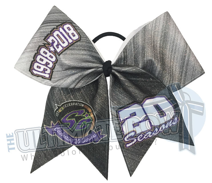 Spirit Celebration - 20 Seasons Platinum Anniversary Glitter Cheer Bow