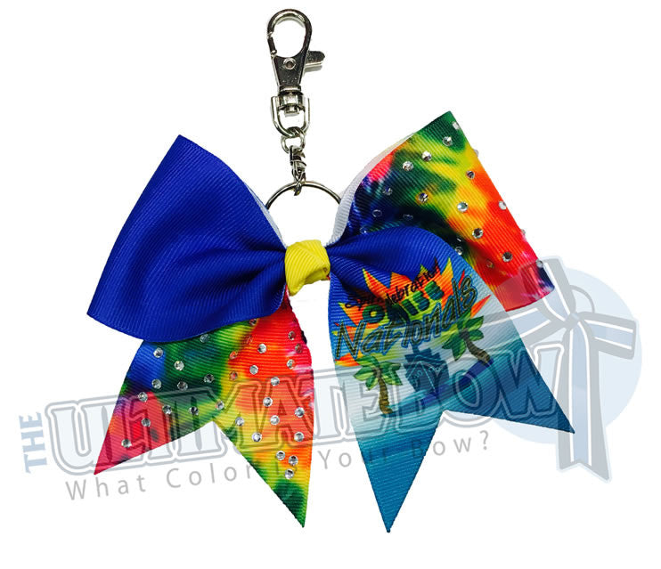 Rhinestone-Tie-Dye-Cheer-Cruise-nationals-spirit-celebratin-ribbon-keychain-key-chain-bow-purse-bling