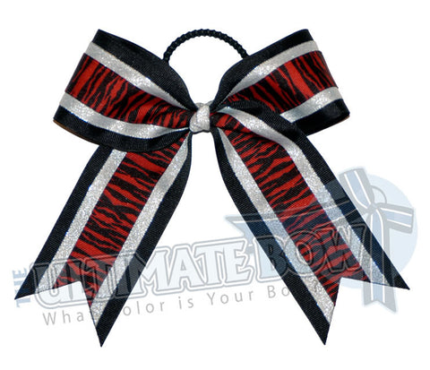 safari-zebra-stripes-cheer-bow-red-metallic-silver-white