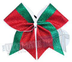 Sassy Glitter Elf Cheer Bow | Red and Green Glitter Cheer Bow | Christmas Cheer Bow