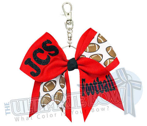 High School Football Key Chain Bow | Football Cheerleader Key Chain Bow | High School Football Key Chain Bow | Mother's Day Gifts | Black | Red | Jupiter Christian School Football