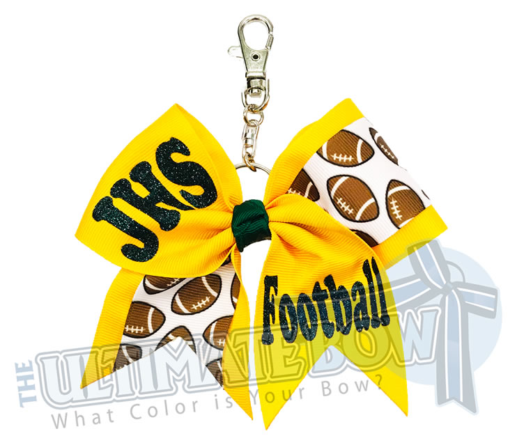 High School Football Key Chain Bow | Football Cheerleader Key Chain Bow | High School Football Key Chain Bow | Mother's Day Gifts | Yellow Gold | Forest Green | Jupiter High School Football
