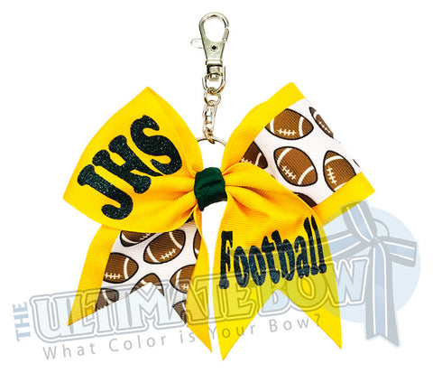 School Football Key Chain Bow | Team Football Mom Gift