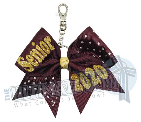 Rhinestones Senior 2020 - Class of 2020 | Maroon | Gold |  keychain-key-chain-bow-purse-bling