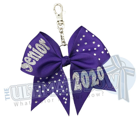 Rhinestones Senior 2020 - Class of 2020-purple-ribbon-keychain-key-chain-bow-purse-bling