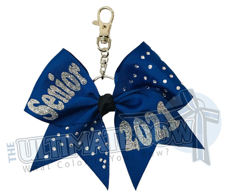 Rhinestones Senior 2021 - Class of 2021 | Royal Blue | Silver | keychain-key-chain-bow-purse-bling