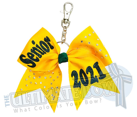 Rhinestones Senior 2021 - Class of 2021 | Yellow Gold | Forest Green | keychain-key-chain-bow-purse-bling