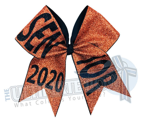 full-glitter-senior-cheer-bow-class-of-2020-celebrate-graduation-graduate Senior Hair Bow Orange Black