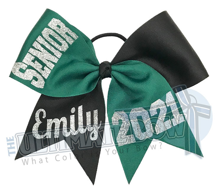 Senior Cheer Bow | Class of 2021 Cheer Bow | Graduation Cheer Bow | Senior Softball Bow | Forest Green | Black