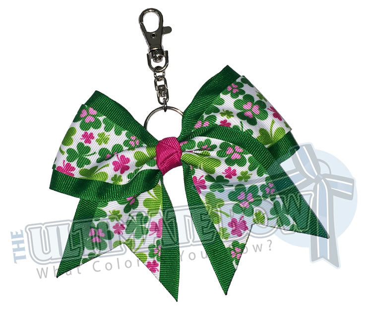 St. Patricks Day Key Chain Bow - Keychain Bow - Cheer Key Chain Bow - Shamrock Key Chain - Good Luck Key Chain