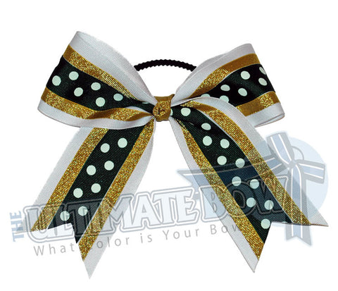 sideline-sizzle-cheer-bow-white-metallic-gold-forest-green-polka-dots