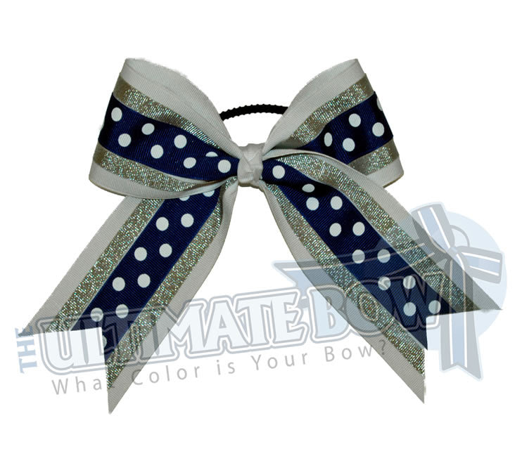sideline-sizzle-cheer-bow-white-metallic-silver-royal-blue-polka-dots
