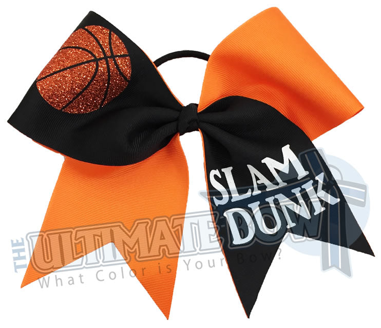 Cheerleading Basektball-Hair-Bow-Cheer-bow-sidelines-basketball-cheer-slam-dunk-NCAA-March-Madness-Brackets-Orange-Black