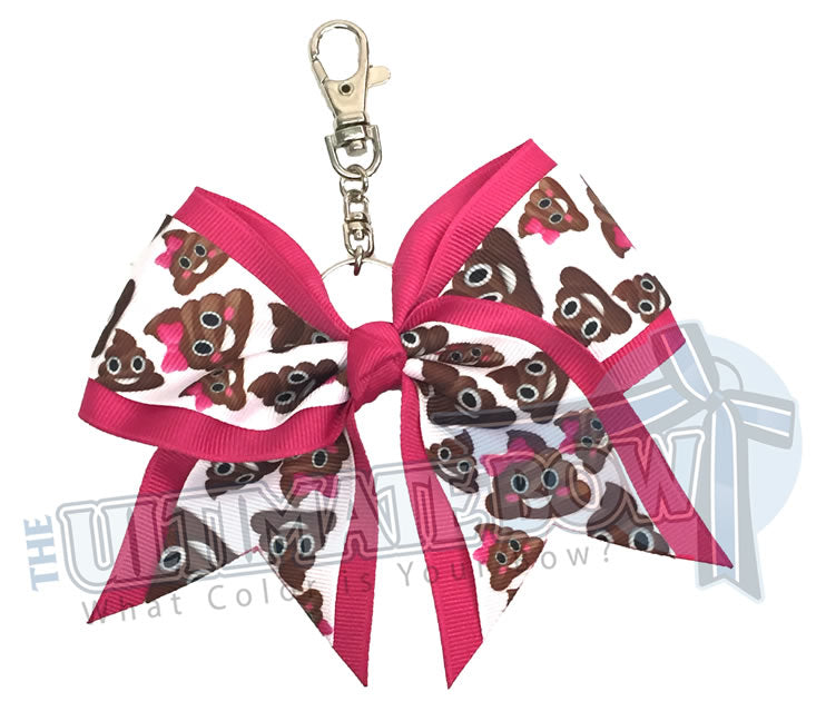 smiling-poop-emoji-movie-key-chain-bow-pink-keychain-emojis
