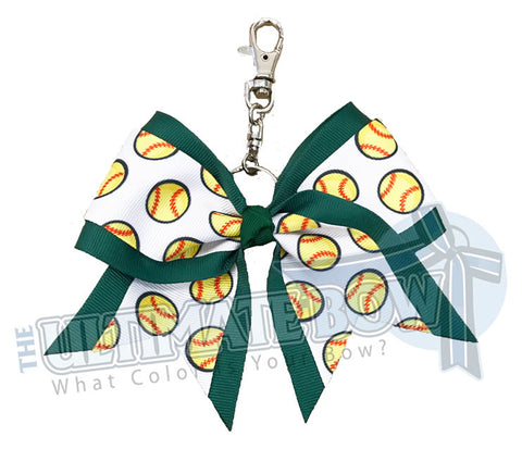Forest Green softball key chain | bow-keychain-softball-player-bow