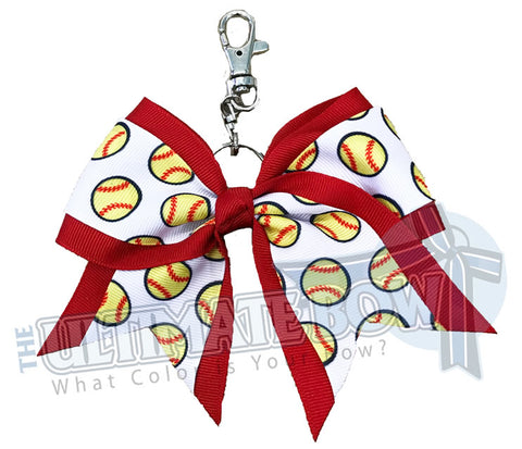 Red softball key chain | bow-keychain-softball-player-bow