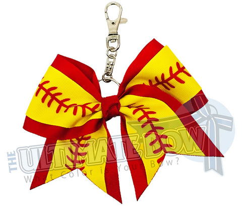 Softball Laces Key Chain Bow